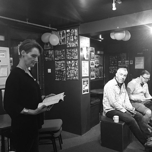 Actors backstage for or first off book run yesterday & our director giving notes.