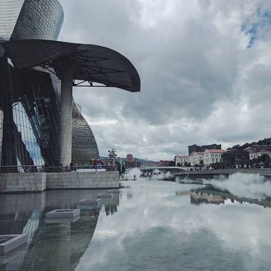 @george_henry__ . . . #culture #architecture #architecturelovers #frankghery #guggenheim #bilbao #art #inspiration #design #glass #titanium #sky #basquecountry #morethanaguesthouse #ibaiaetarramak