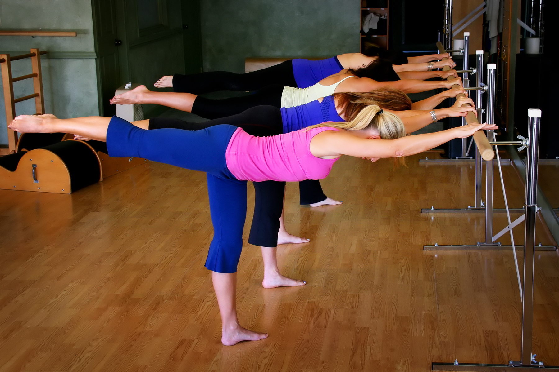 Clients at a Barre class