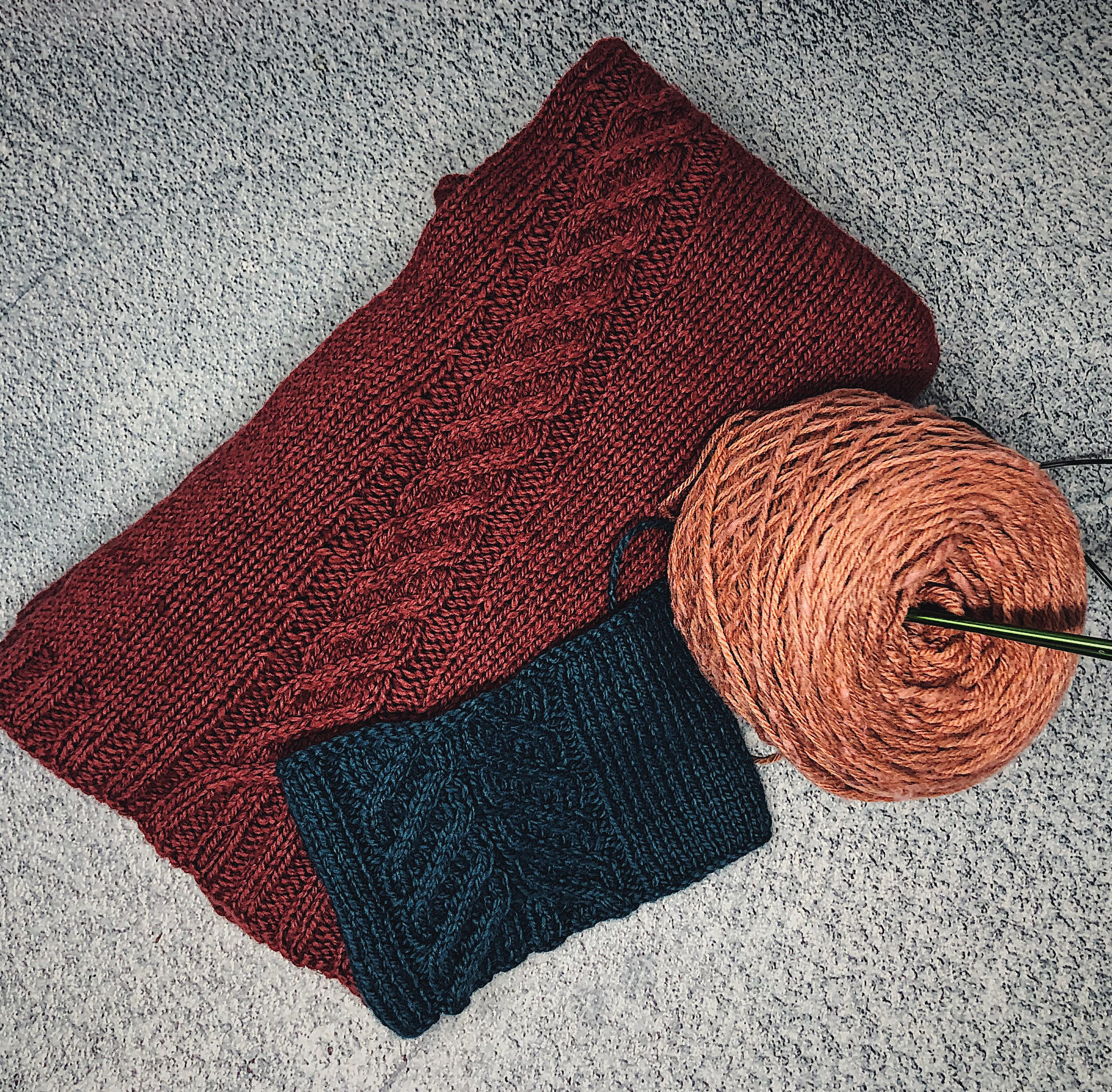 My OG Mapleshade sample and swatch, and my readily-caked Solstice for my KAL version.