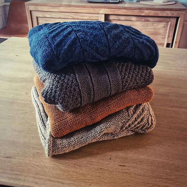 Just got this pile of some of my favorite sweaters back from my friends at @interweavecraft. It was a neat moment to reflect on the last year and a half of my design work, and on the hugely-important-for-me partnership with @meggospurls that brought these garments to life. Here's to new adventures all around...