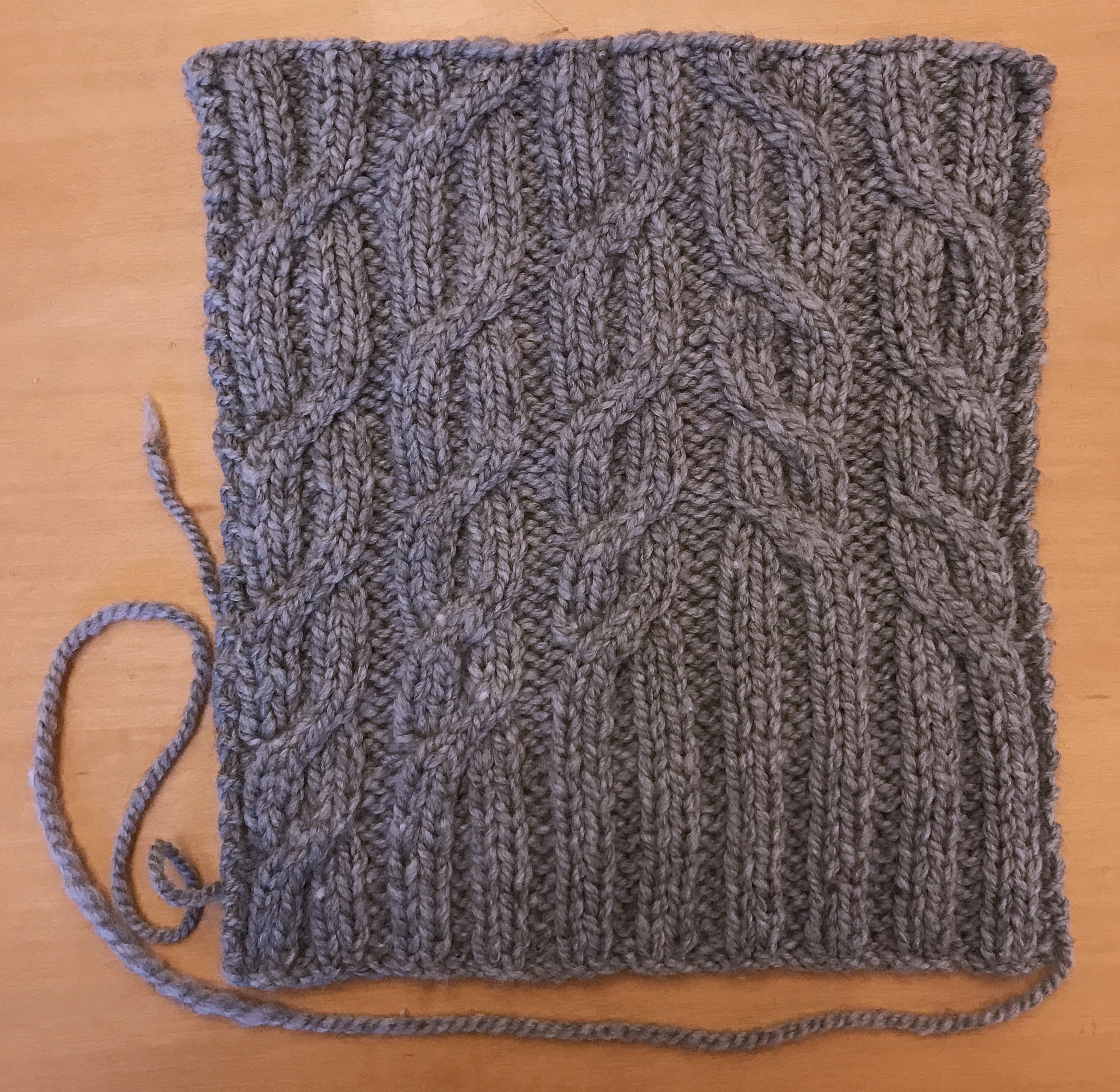 Straight out of the wayback machine, this was the original swatch for my Tangled Up in Gray pullover, from Interweave Knits Fall 2017.