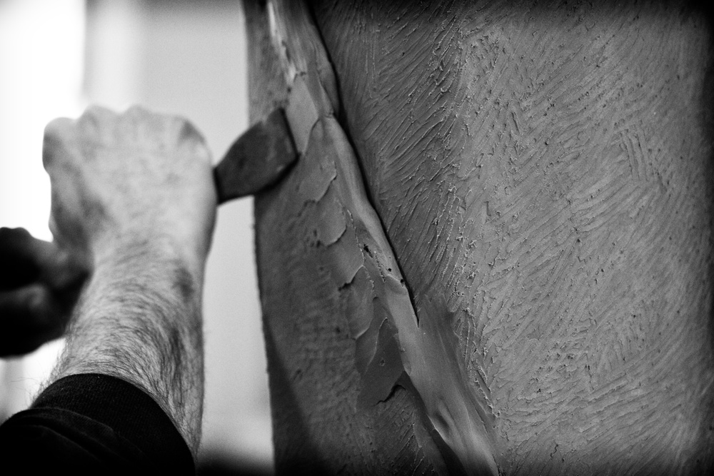 Larry working on the Harry Kalas sculpture 2011  Photo by Nathan Larson
