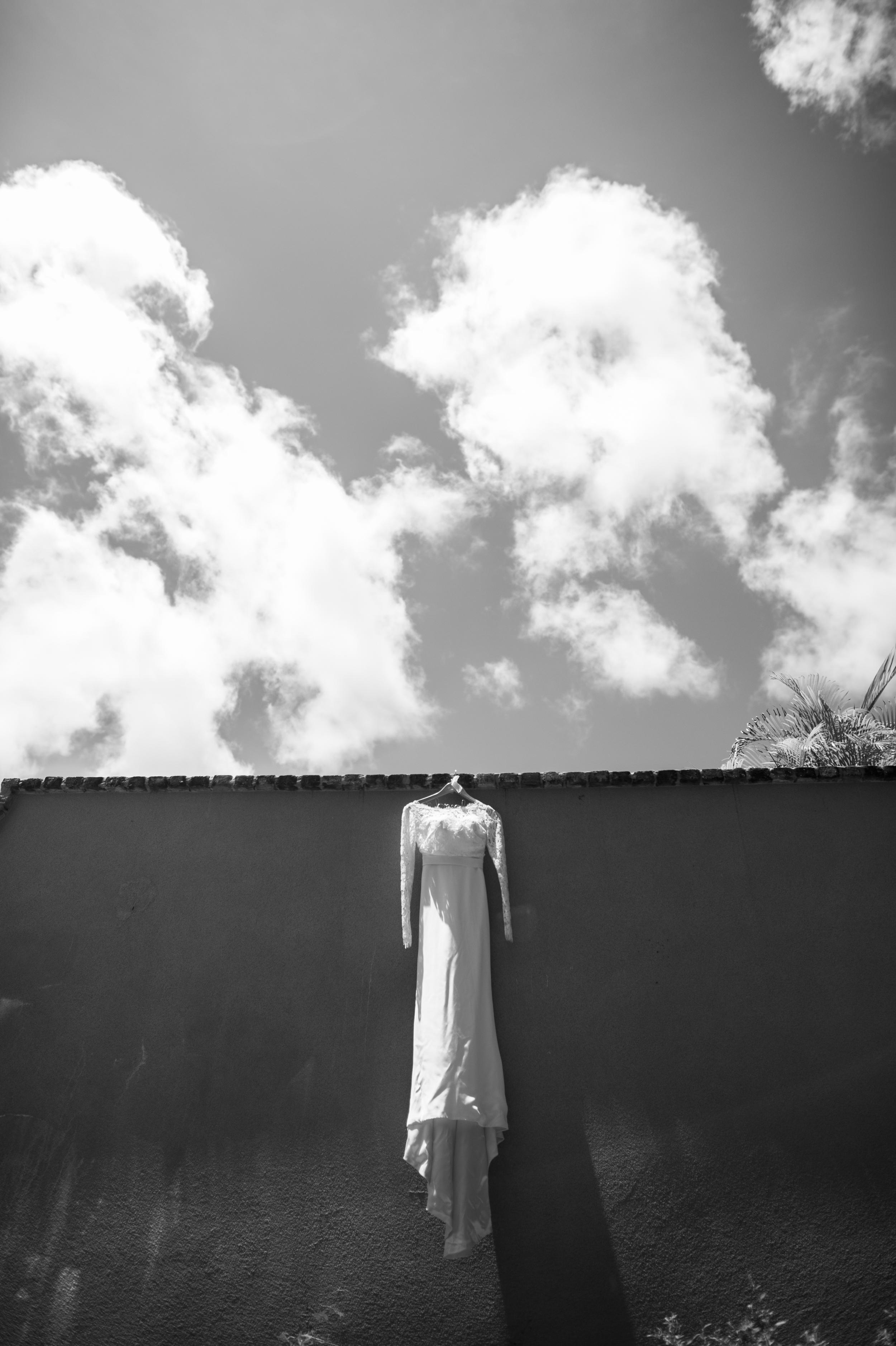 Brides dress hanging in St John usvi