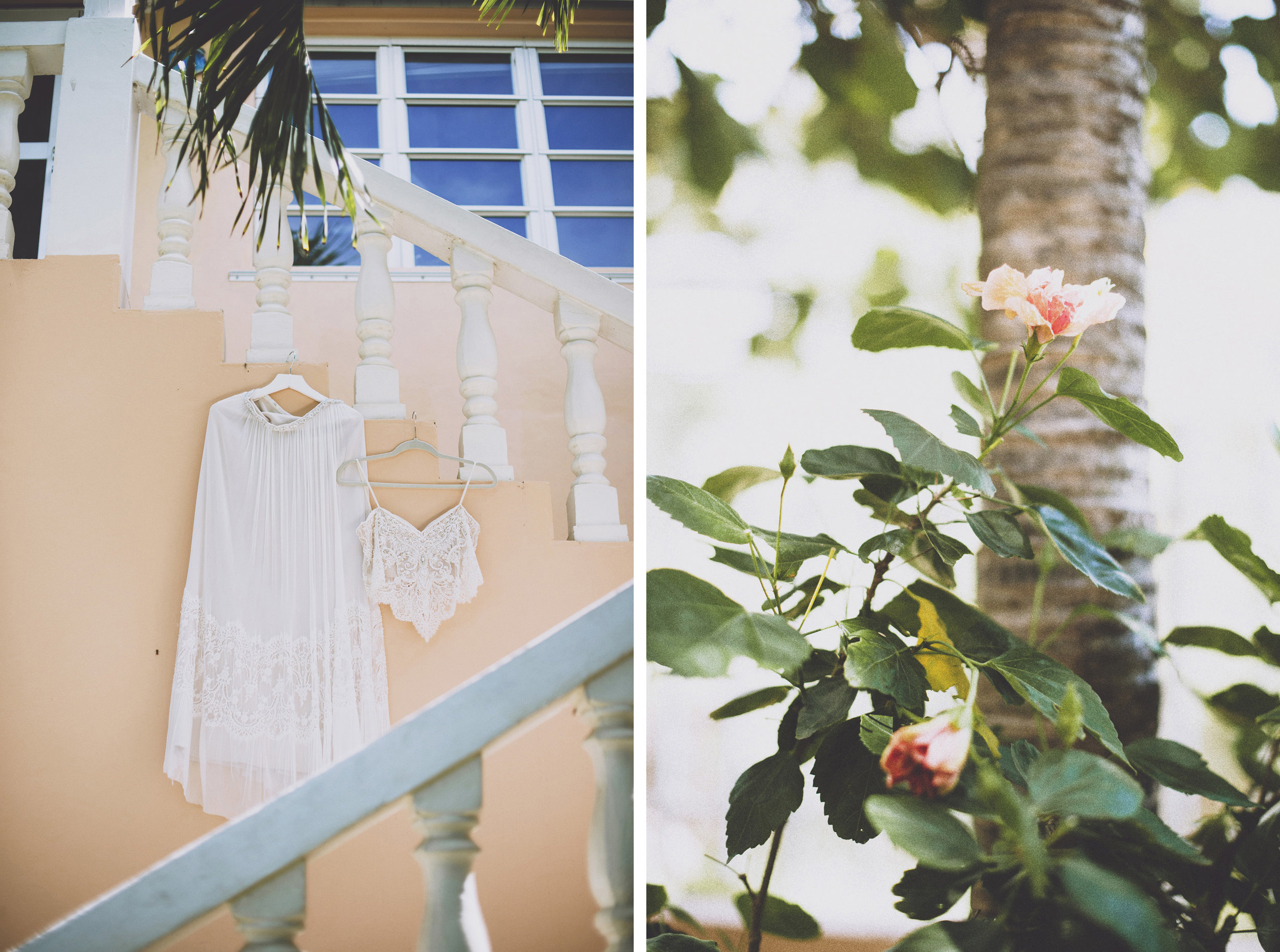 Dress hanging on balcony in St Thomas