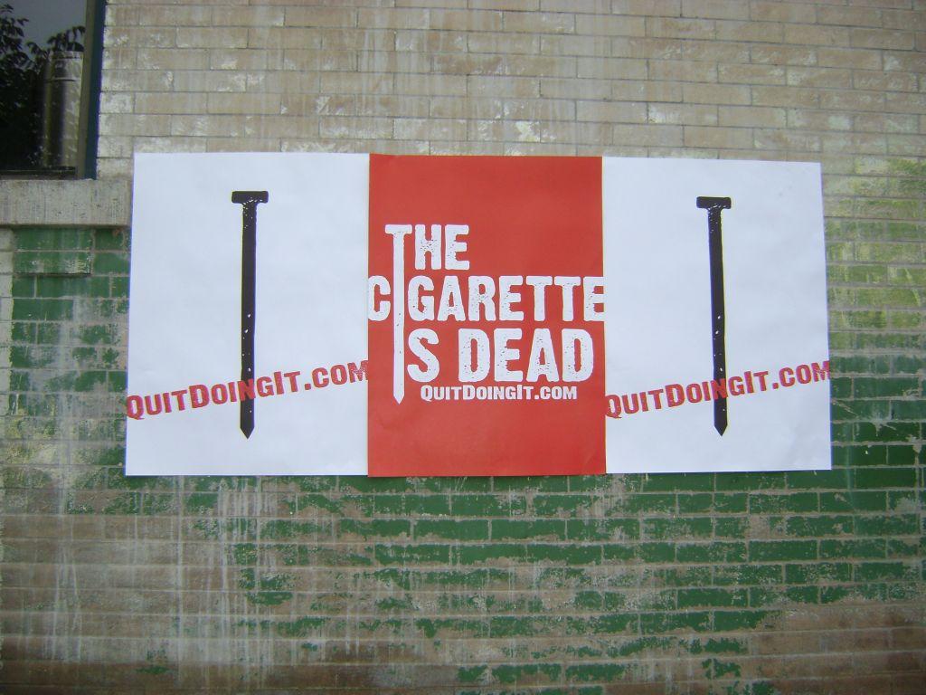 glued poster advertising