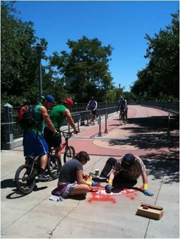 team of great artist make great sidewalk chalk