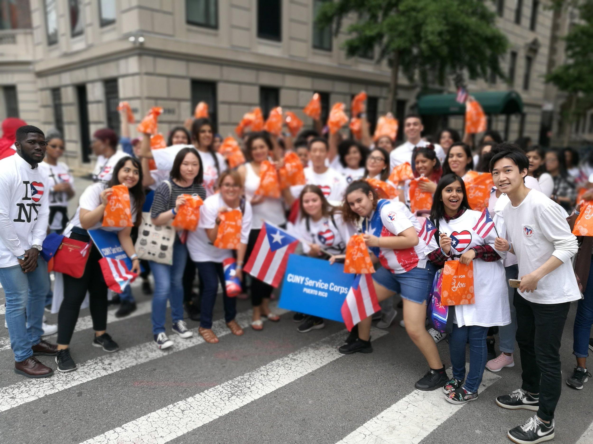 Parade marketing street team sampling at parades