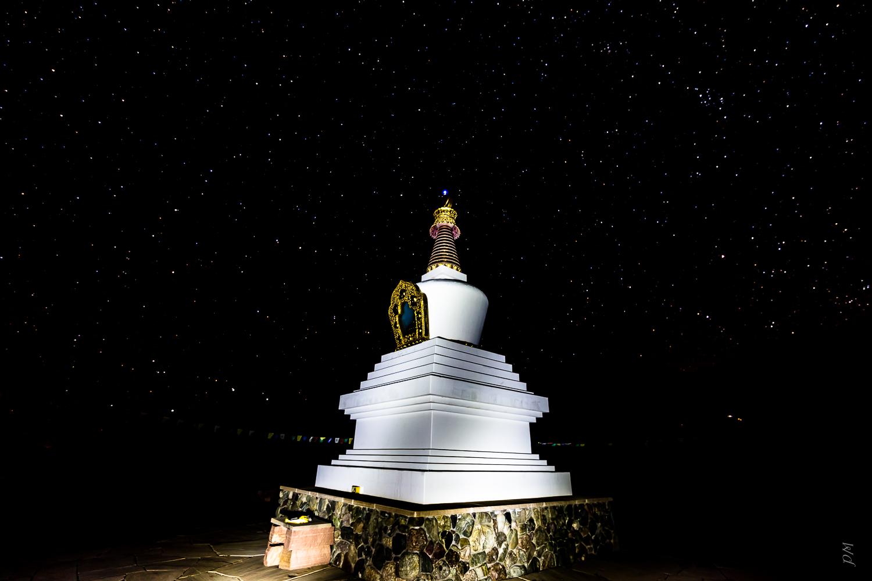 "Single shot of the stupa lit up by ""light painting"""
