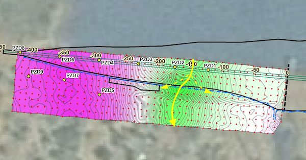 The above 2-D map shows preliminary interpretation of subsurface water seepage pathways (yellow lines) of dam seepage.