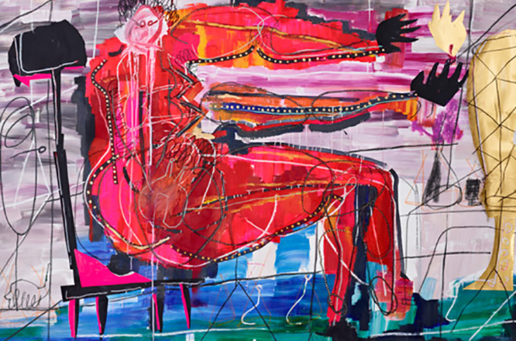 desire  200 x 130 cm acrylic, oil pastel, collage on canvas  2012