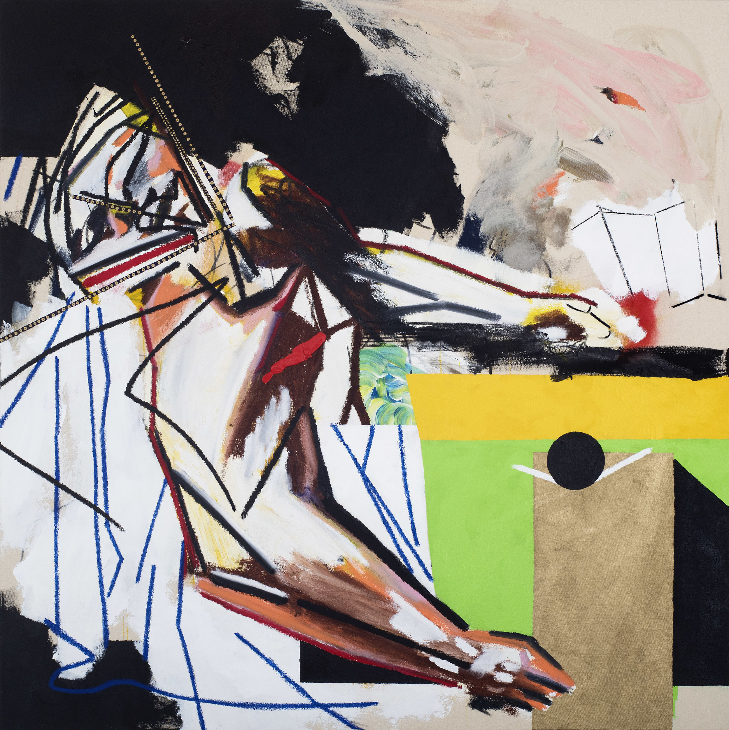 captured pieces (died in the bathroom) 47 x 47 inches (119.5 x 119.5 cm) acrylic, oil stick, spray and charcoal on canvas 2016