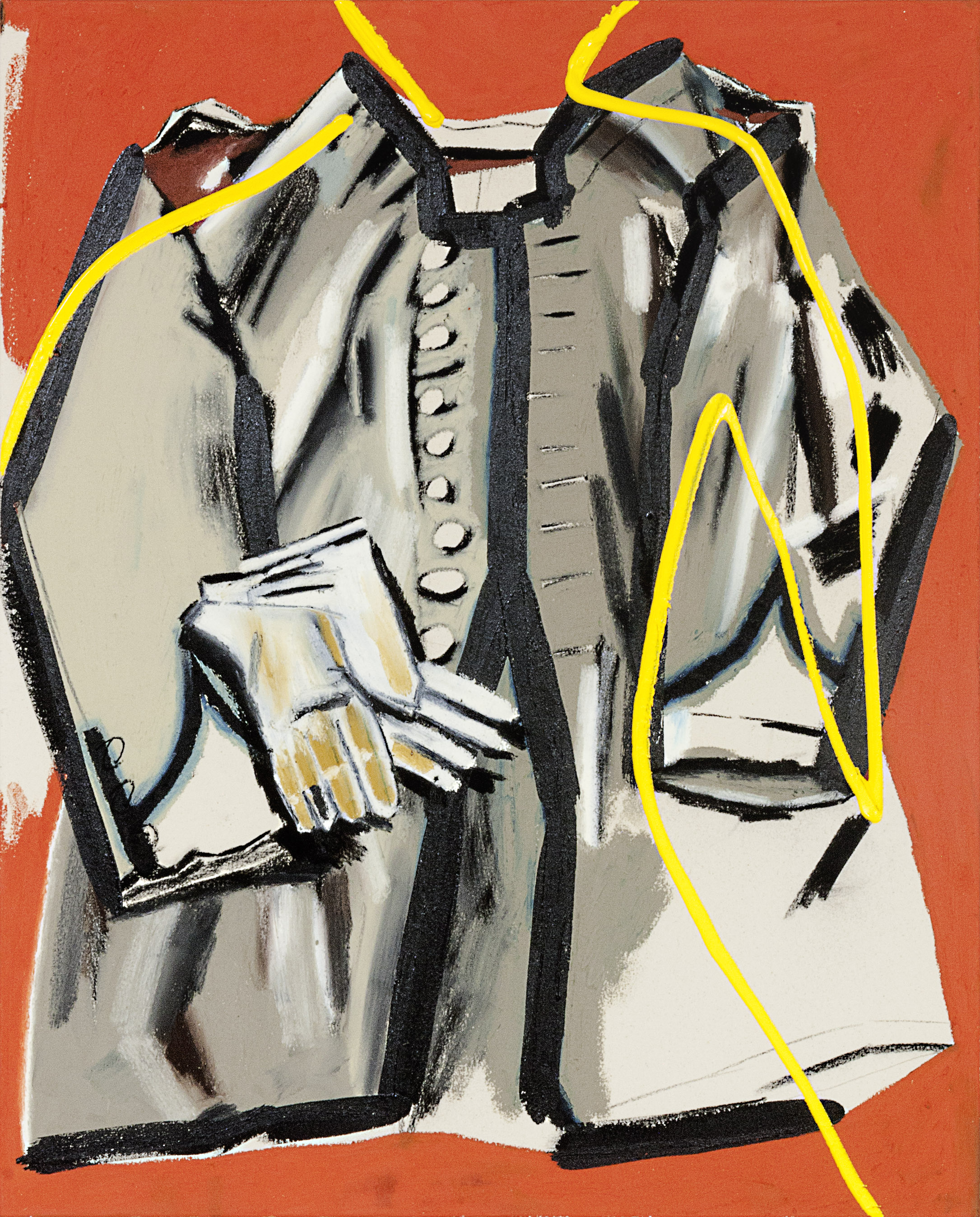 Nine-button frock coat and white cotton gloves 36 x 29 inches oil stick, acrylic and charcoal on canvas 2018