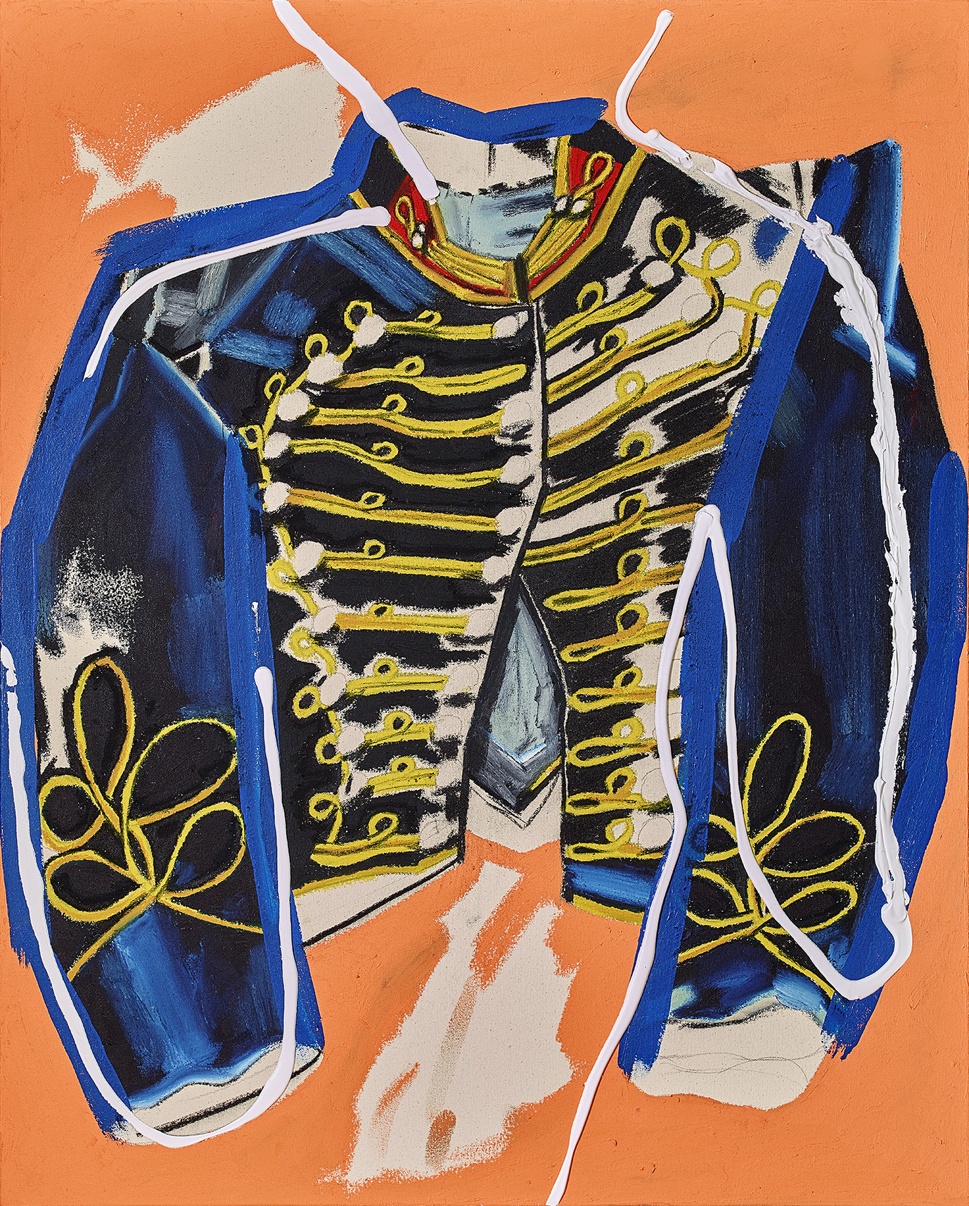 Cavalry shell jacket 36 x 29 inches oil stick, acrylic and charcoal on canvas 2018