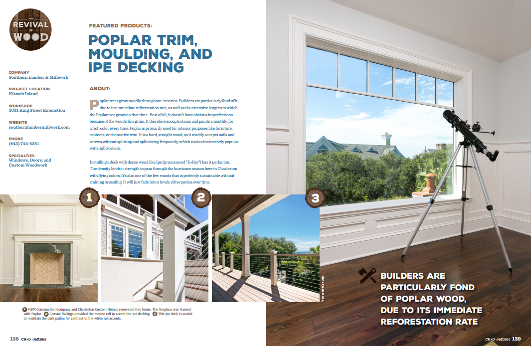NBM Construction & Charleston Custom Homes featured by Southern Lumber & Millwork