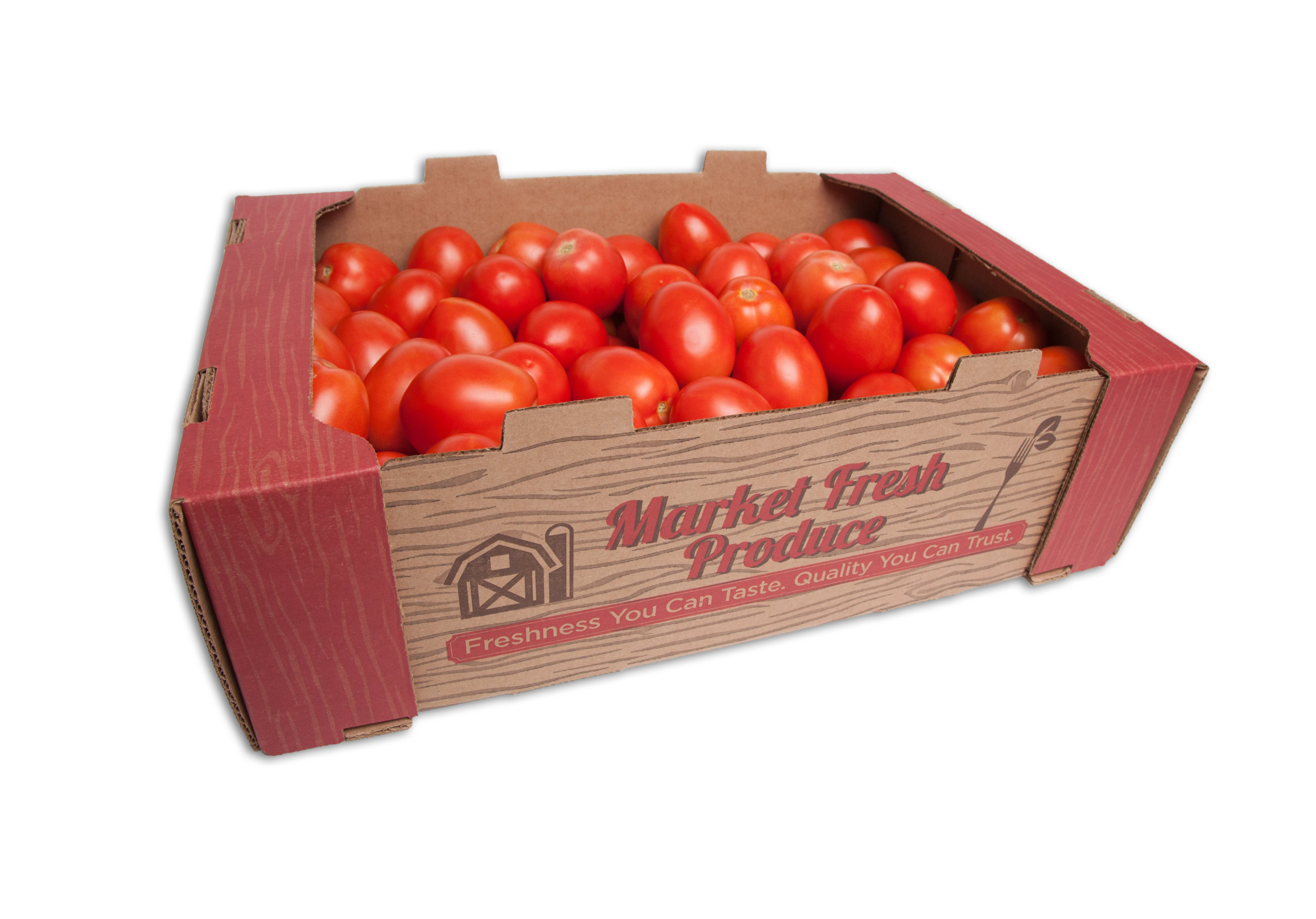 Roma Tomatoes - We can provide you and your consumer with only the best and this means Roma tomatoes. Our Roma tomatoes come in 25 pound cases in various sizes: Medium, Large #1, and XL or packaged Romas that are retail ready. We always have a year around supply!