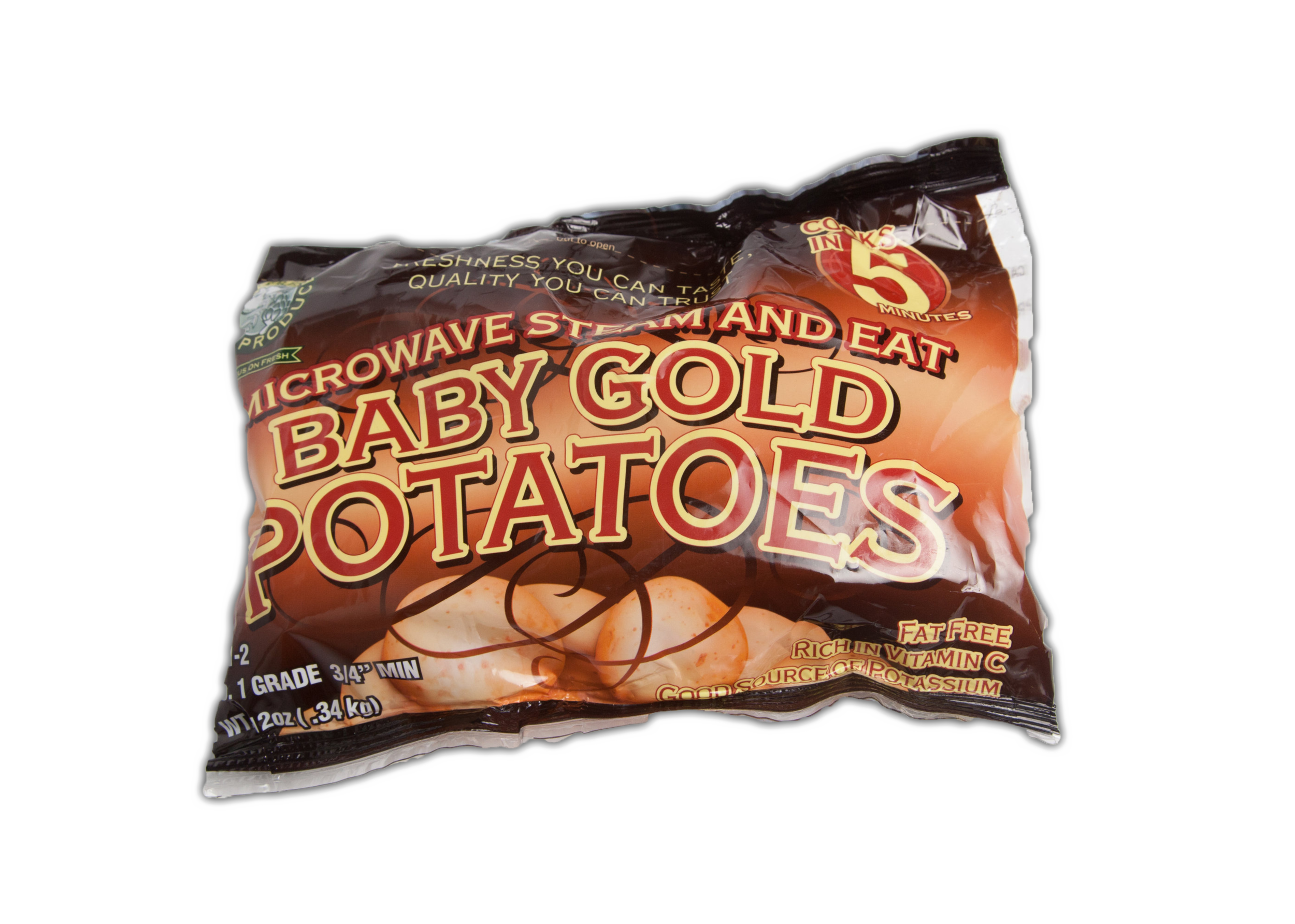 Packaged Gold Potatoes - These delicious wonders are a great substitute for a russet potato. They are so creamy and tender they are perfect roasted or as mashed potatoes! Our gold potatoes are available in 12 ounce steamer bags, 24 ounce (C size) bags, 2 pound (B size) bags, and 5 pound (US #1) bags.