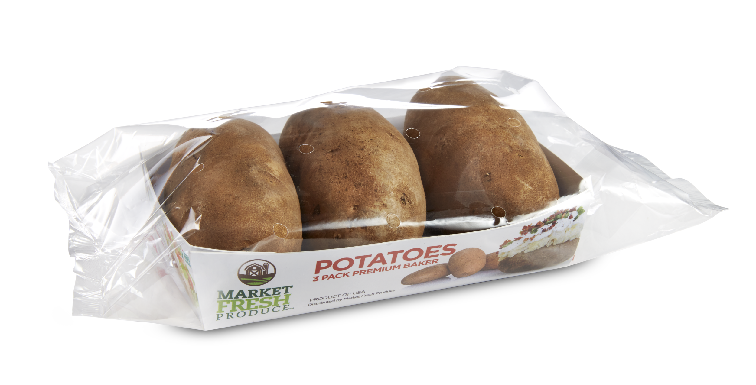 Packaged Baker Potatoes - We offer russet potatoes in several retail ready offerings! Our newest 3 pack baker potato tray or the classic 5 and 10 pound bags to the single steamer potato, we have what you need!