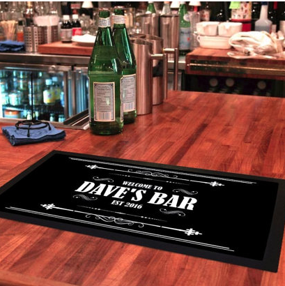 CUSTOM BAR RUNNER MAT - Class up your home bar with a personalized bar runner mat! A great gift for those looking to step up with bar game!$20
