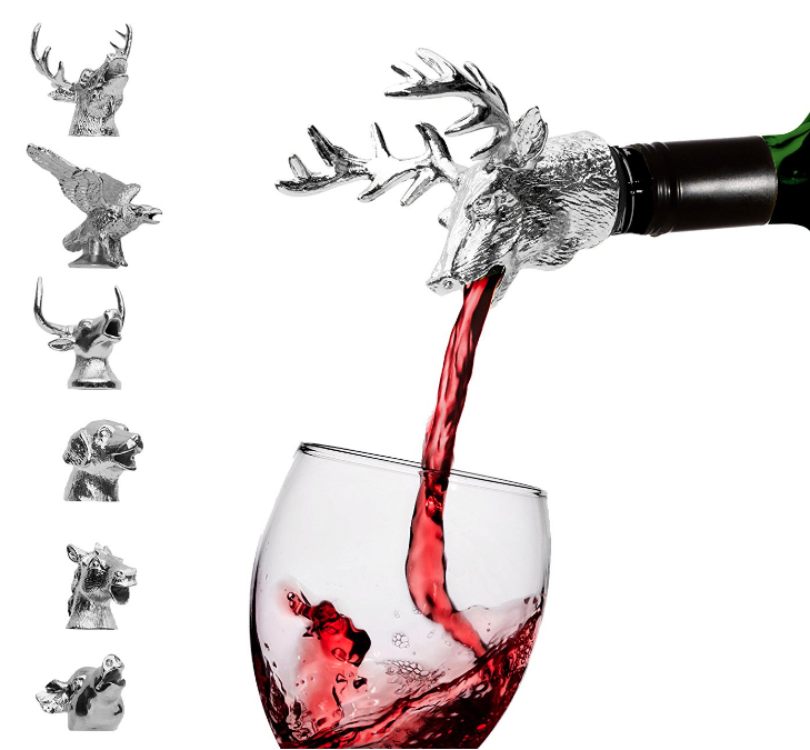 ANIMAL HEAD POURERS! - Add a little bit of entertainment to your drinking adventures and gatherings. Though mainly seen used for wine, these humorous and lovely pourers can be used for spirits as well. I love these things, something so simple that can make a smile even bigger when you see your glass getting filled.$14.95PS. I have an elephant one and it's awesome. And if you want a more high end option of these, check out Menagerie Pourers.