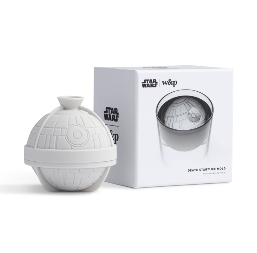 """DEATH STAR™ ICE MOLD - """"Stare down the Empire's ultimate weapon with every sip. Once frozen, peel back the flexible silicone mold to reveal your own Imperial battle station.""""$14"""