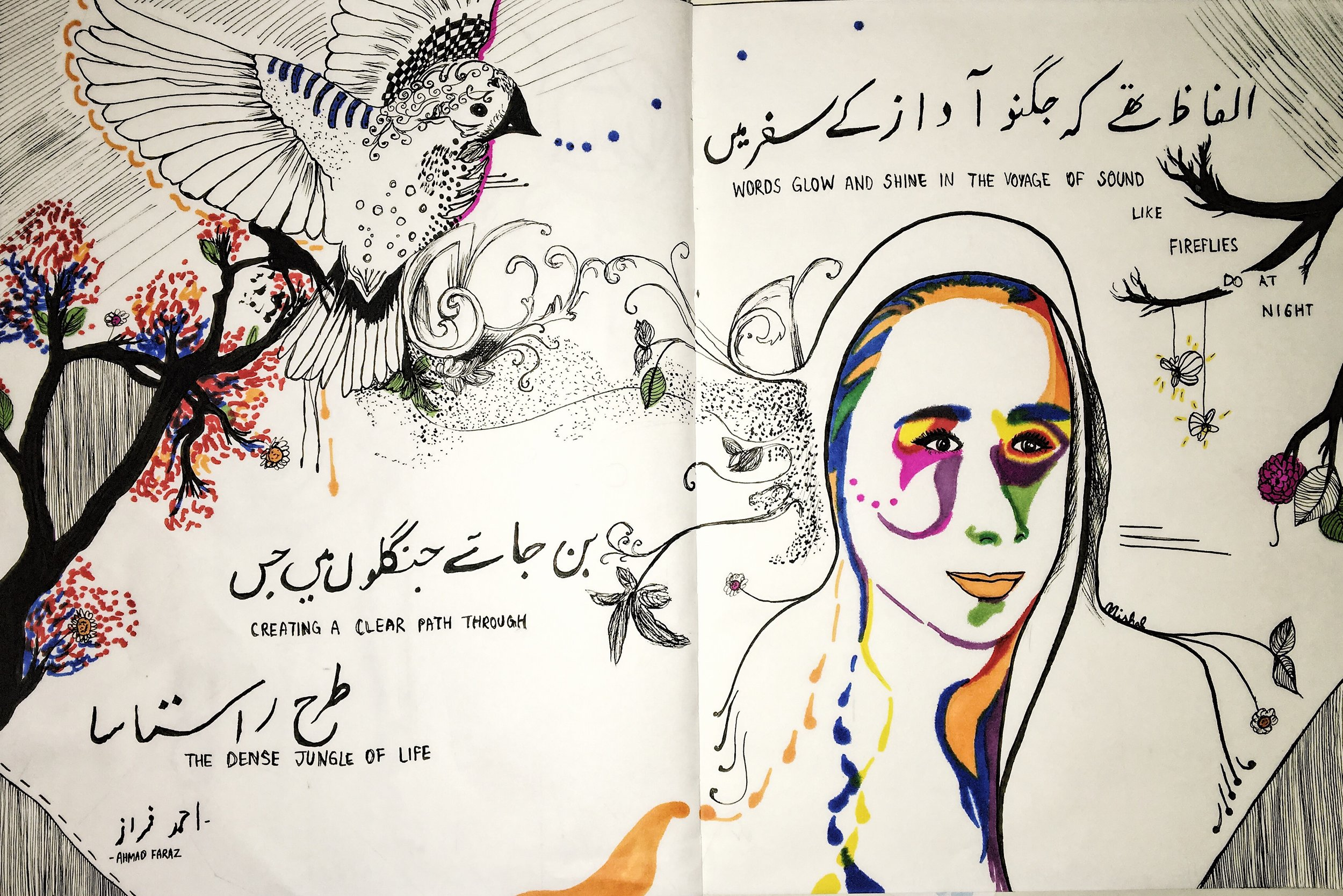 2. Introspection    Pen and ink   This piece was prompted by a class assignment to illustrate our identity through the combination of drawings and words. This was the first time I tried portrait abstraction which I combined with a detailed illustration of a bird on the left side, implying the potential to fly. I then incorporated a small excerpt from an Urdu poem by Ahmad Faraz as my family, especially my father have always considered Urdu poetry important.