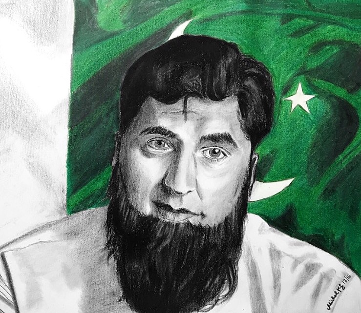 9. Tribute to Junaid Jamshed     Mixed media    I created this upon the recent passing of a famous Pakistani singer turned evangelist, Junaid Jamshed. His old band music and later religious naats were extremely important to me growing up and I felt he was an crucial part of the Pakistani identity.