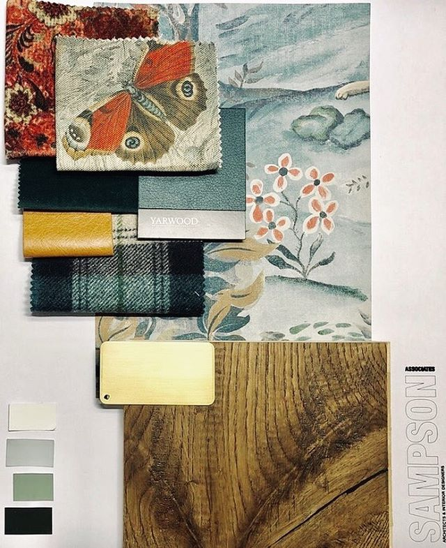 Excited to show this nature inspired moodboard to our client for their refurbished bar and dining area. . . . #sampsonassociates #interiordesign #hospitalitydesign #pubdesign #hoteldesign #moodboard #designinspiration #yarwoodleather