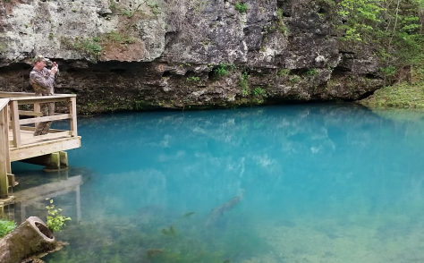 MOC member Jason Jenkins takes in the blue expanse of Big Spring near Van Buren, MO. Photo by Tyler Mahoney.