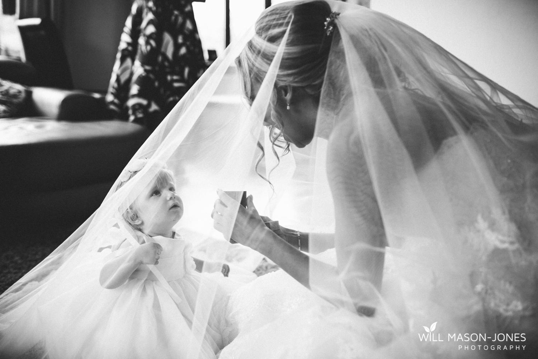 cute flower girl veil hensol castle wedding photographer cardiff