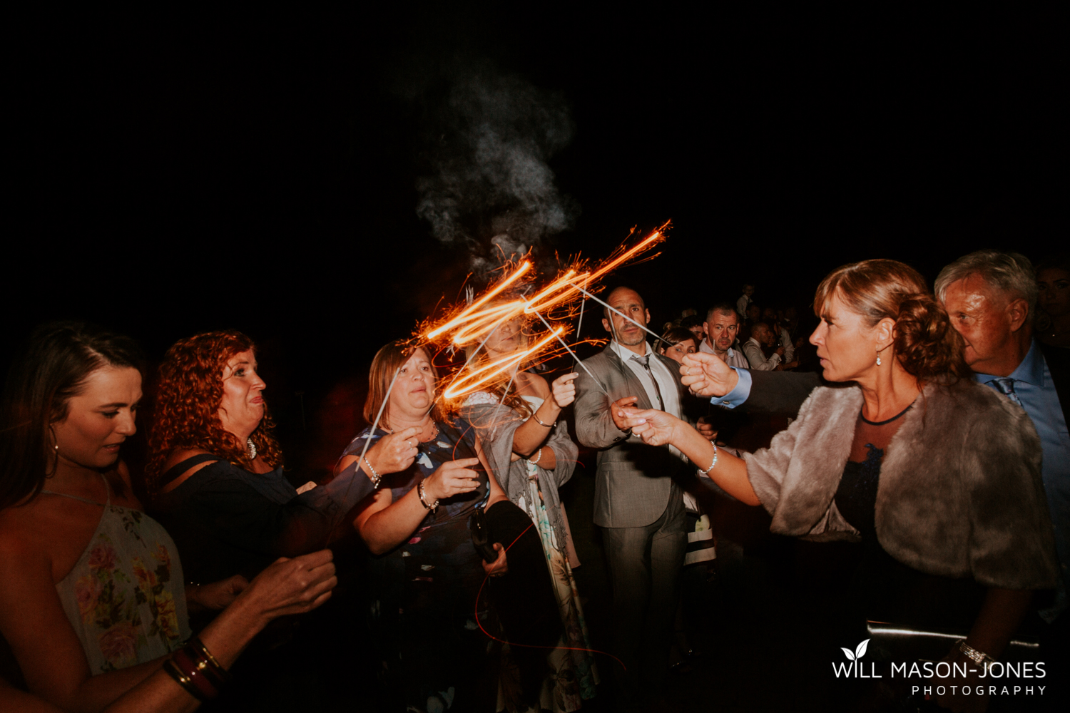 night sparklers fireworks at hensol castle wedding photographer cardiff