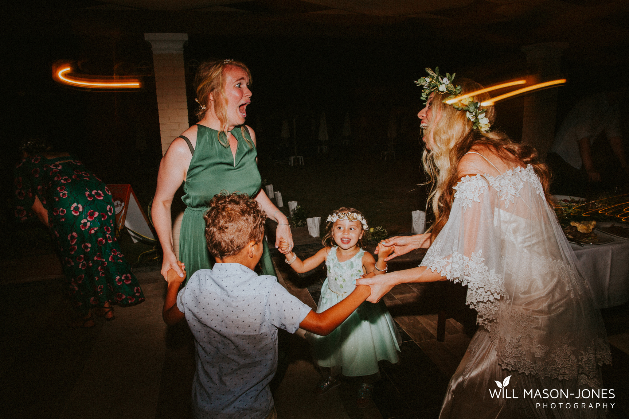 greek beach destination wedding corfu evening reception dancefloor fun photography