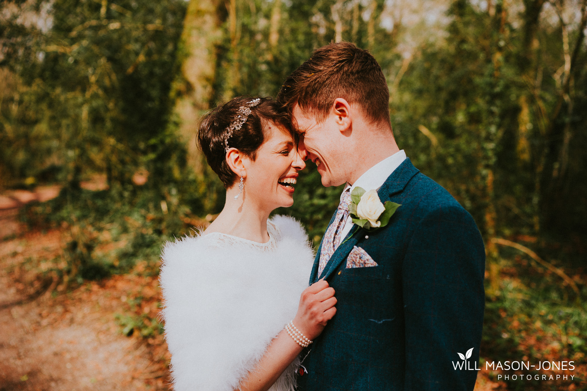 couple portrait natural woodland photography at llanerch vineyard cardiff wedding