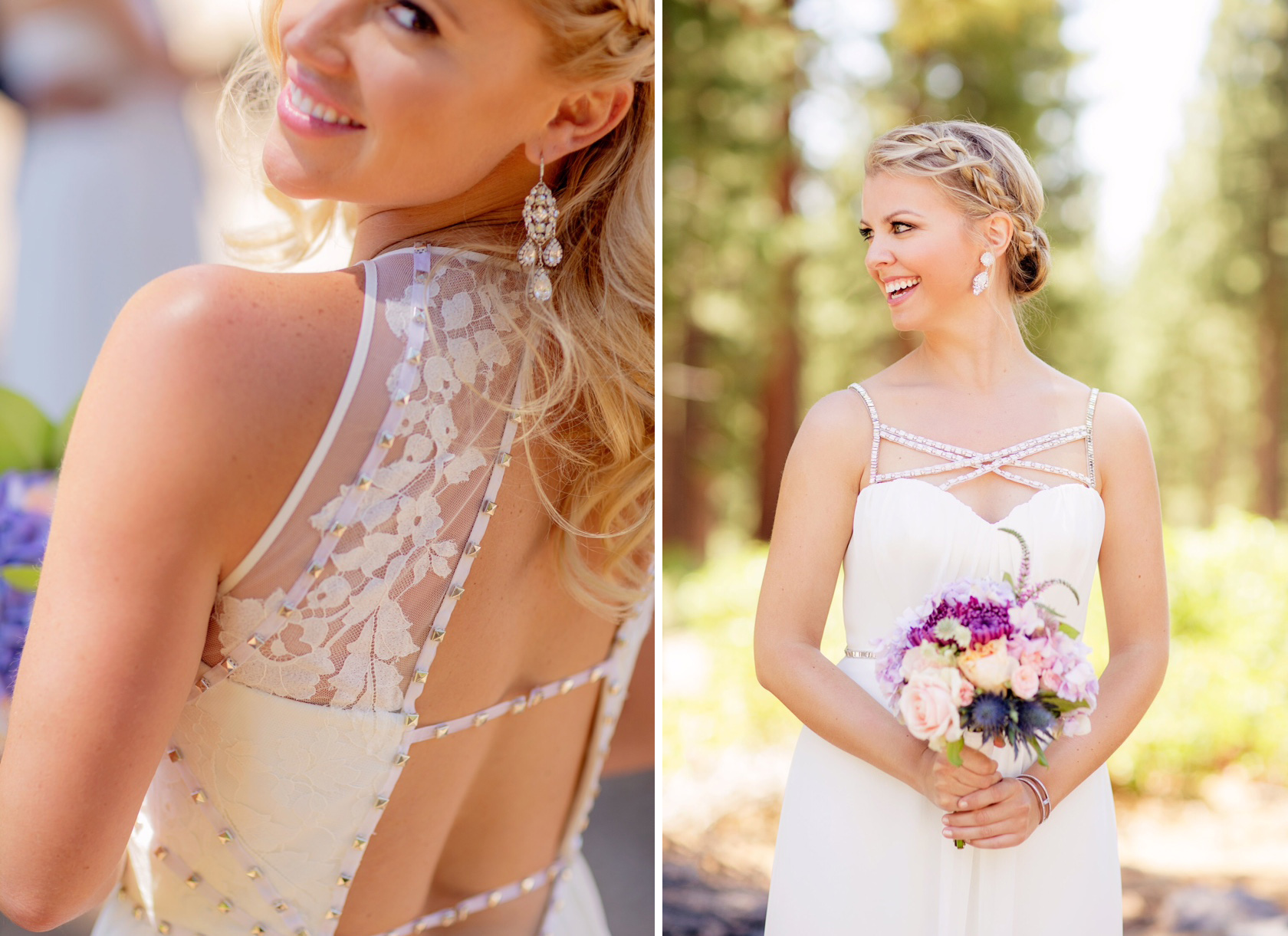 Chandelier earrings designed with White Opal and Clear Swarovski Elements, to match their custom Hayley Paige bridesmaid gowns.
