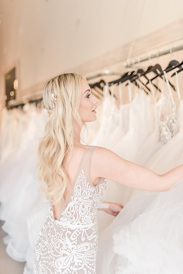 Romantic Boho Nude Lace Wedding Dress