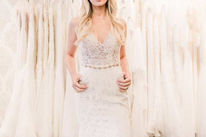 Illusion Lace Wedding Dress with a Crystal Sash