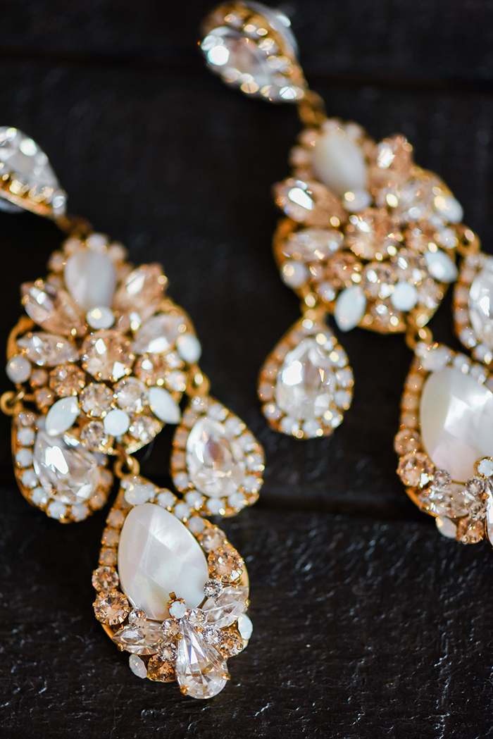 Crystal and Mother of Pearl Statement Earrings from Haute Bride