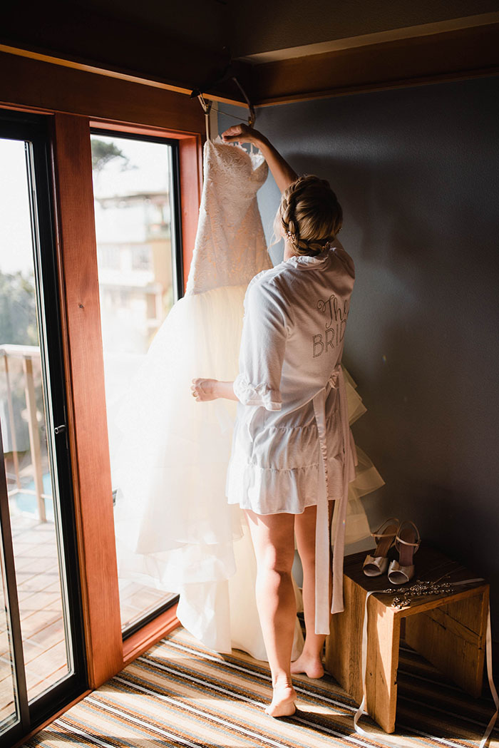 Bride with her wedding dress