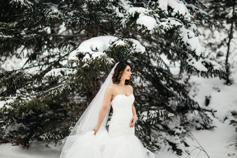 Enchanting Winter Woodland Bride in the Snow