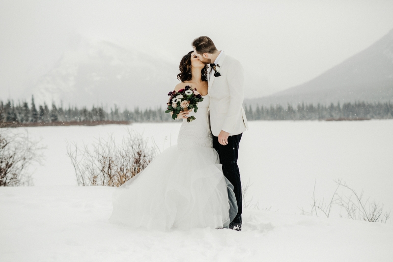 Romantic Snowy Mountain Wedding Photos