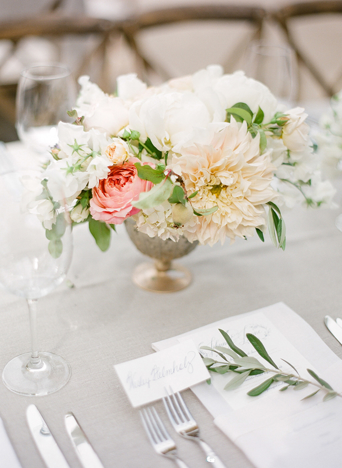 Neutral Wedding Decor with Spring Floral Centerpieces