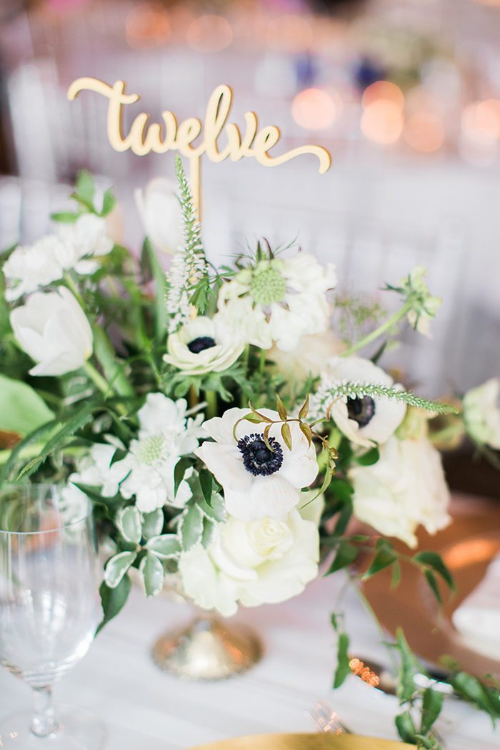 White and Green Wedding Flowers with Gold Decor