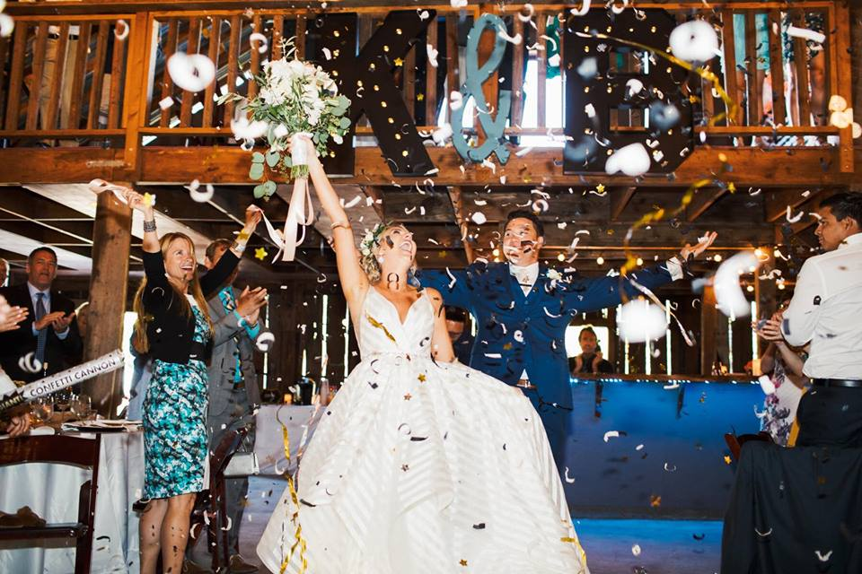 Bride and Groom Enter their Reception to a Confetti Toss