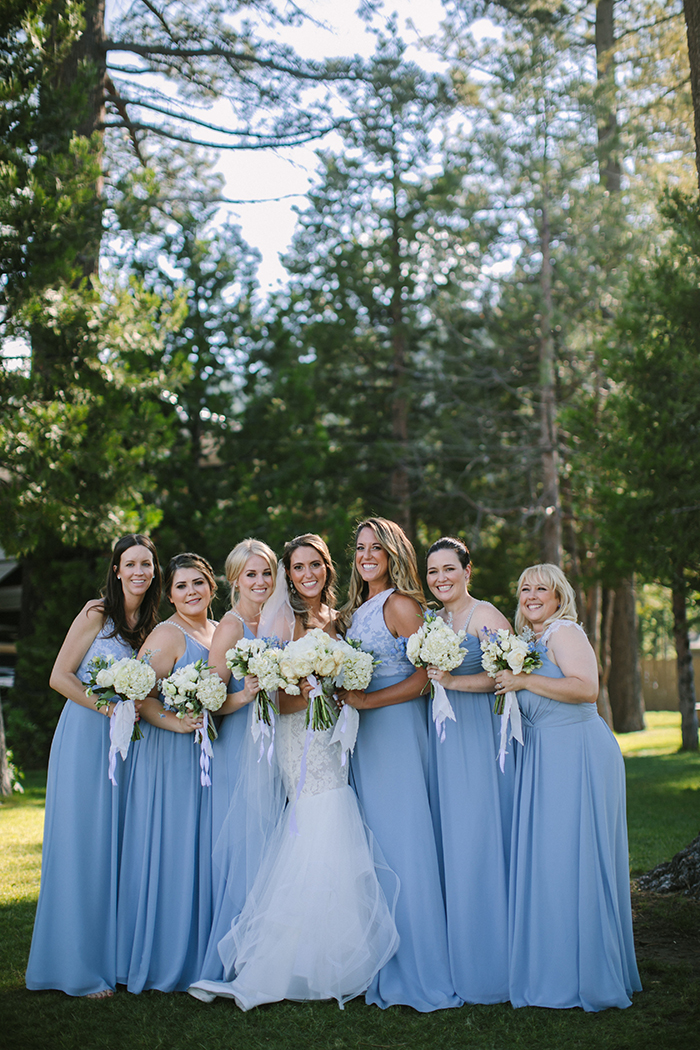 Bridesmaids in Blue Mismatched Hayley Paige Dresses