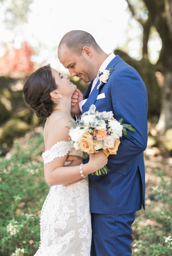 Elegant Peach Winery Wedding Flowers with a Matthew Christopher Wedding Dress