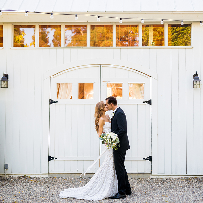 Vintage Glam Winery Wedding Photos with a White Barn