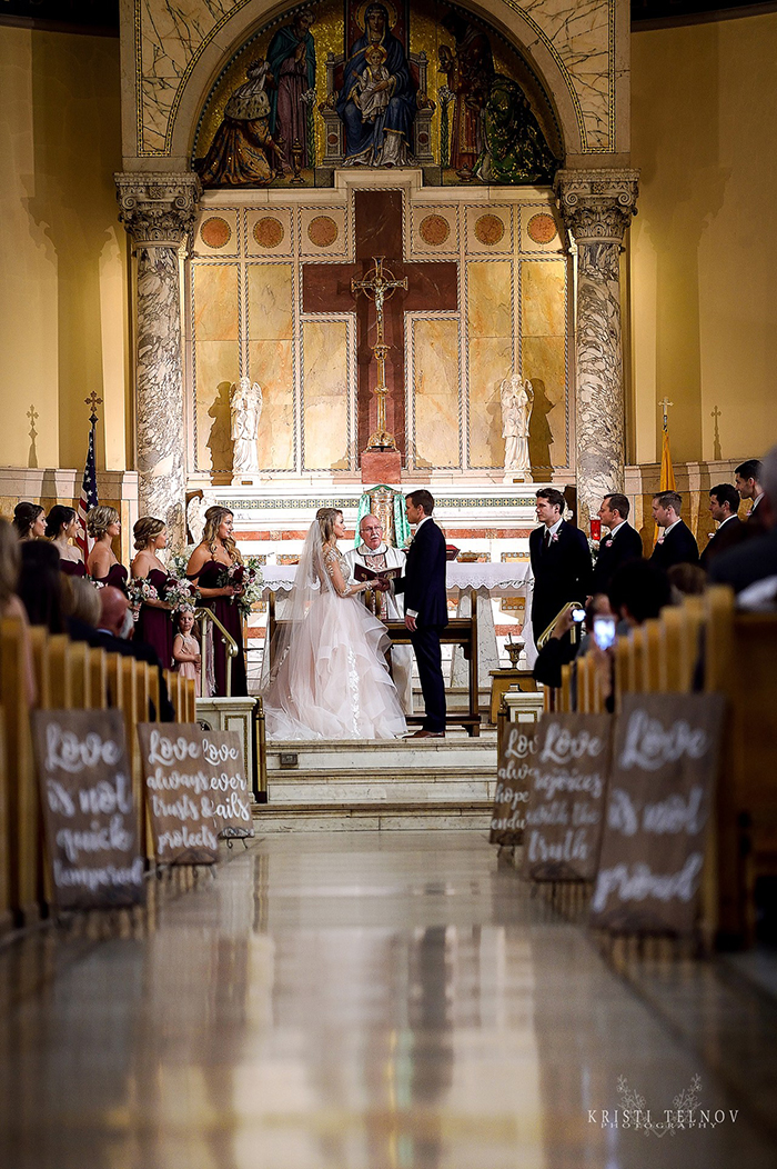 Elegant Church Wedding Ceremony with Bible Verse Aisle Decor