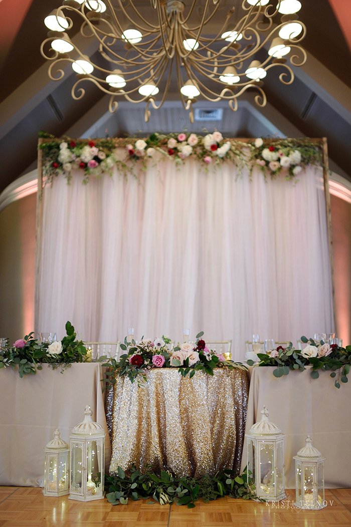 Sequin Sweetheart Table with Romantic Flowers