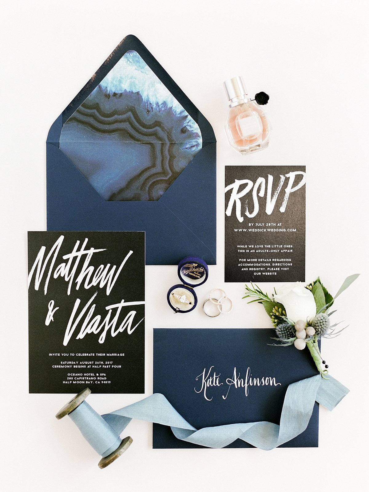 Modern Marbled Invitations for a Coastal Wedding