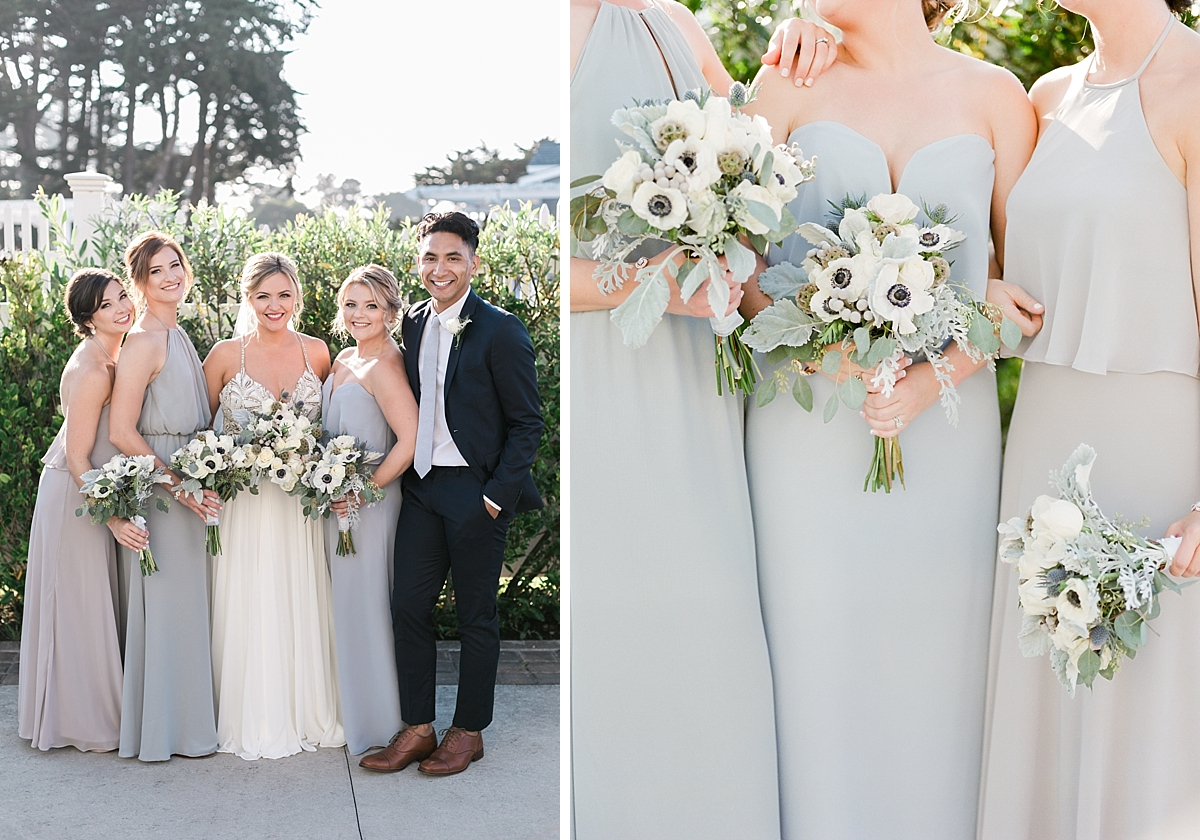 Black Tie Coastal Wedding with Gray Bridesmaid Dresses